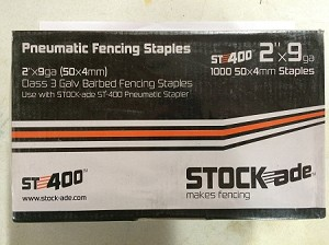 "StockAde 2"" ST400 9 Gauge Barbed Staples 1000/carton"